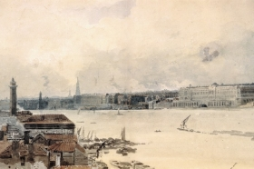 Thomas Girtin, szkic do London 'Eidometropolis'::The Thames from Westminster to Somerset House, 1800-1801 (© The Trustees of the British Museum, Londyn, Wielka Brytania)