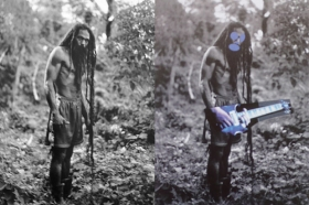 Left, a Rastafarian from Patrick Cariou's Yes, Rasta book; right, Richard Prince's Graduation from the Canal Zone series